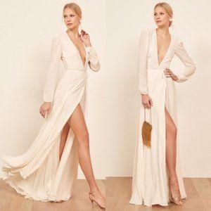 Reformation Milan Wedding Dress Ivory Wrap Maxi Bridal